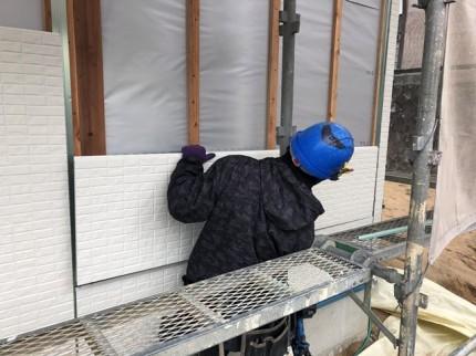 新築外壁の施工です。|郡山市 新築住宅 大原工務店のブログ
