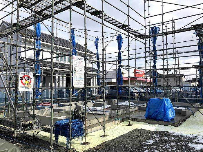 足場が組みあがりました 郡山市安積町 |郡山市 新築住宅 大原工務店のブログ