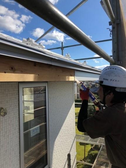 破風板金のシーリングです。|郡山市 新築住宅 大原工務店のブログ