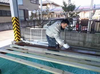ウッドデッキ材の塗装をしました。須賀川市 H様邸 新築住宅。