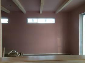 漆喰塗壁進んでいます。郡山市富田町 新築住宅 I様邸です。