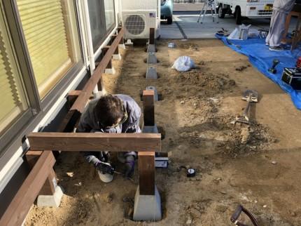 ウッドデッキ製作中です。郡山市田村町| 郡山市 新築住宅 大原工務店のブログ