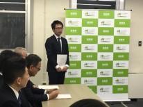 福島県小川町高萩地区復興住宅の意気込みを話す大原社長