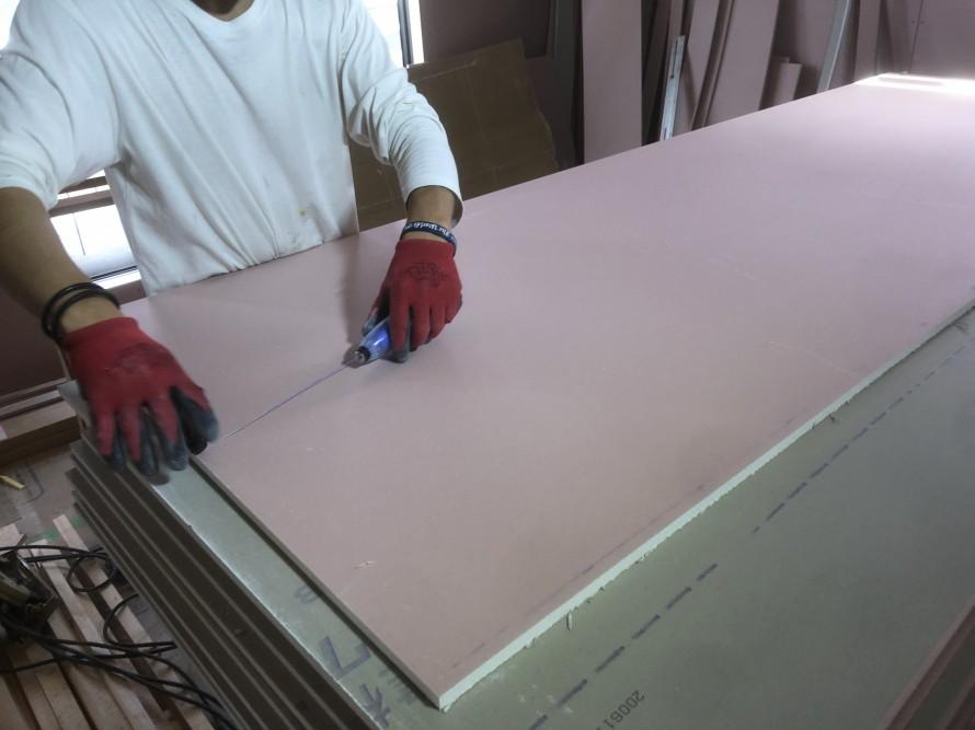 TAJIMAさんの割付チョークで墨出し中|郡山市 新築住宅 大原工務店のブログ