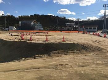 福島県小川町高萩地区復興住宅の予定地の造成現場
