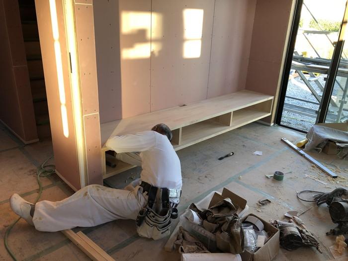 TVボードの設置です。|郡山市 新築住宅 大原工務店のブログ