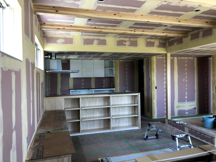 クロスの下地処理完了です。|郡山市 新築住宅 大原工務店のブログ