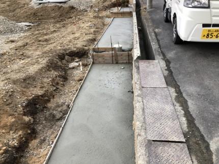 L型擁壁のベースの打設です。|郡山市 新築住宅 大原工務店のブログ