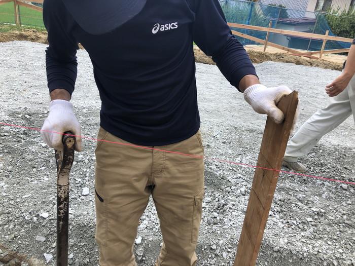 高さを測っていきます。須賀川市森宿  郡山市 新築住宅 大原工務店のブログ
