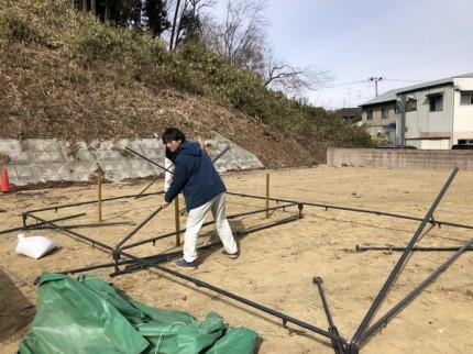 地鎮祭のテント設置です。|郡山市 新築住宅 大原工務店のブログ