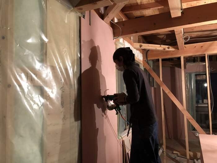 大原工務店で新築注文住宅建築中I様邸、石膏ボードを施工していきます。郡山市菜根| 郡山市 新築住宅 大原工務店のブログ