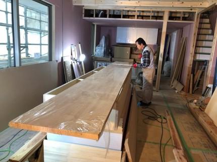 カウンターの造作です。|郡山市 新築住宅 大原工務店のブログ