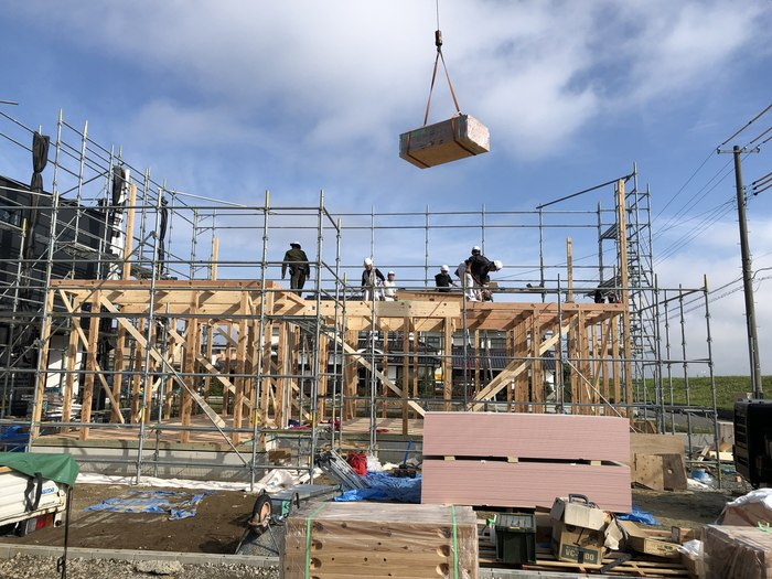 大原工務店の新築モデルハウス上棟の様子です。郡山市安積町| 郡山市 新築住宅 大原工務店のブログ