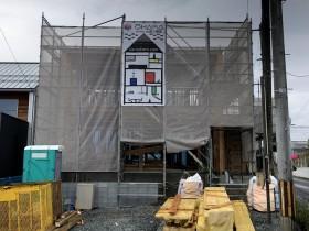 新築注文住宅K様邸、メッシュシートの様子です。郡山市安積町  郡山市 新築住宅 大原工務店のブログ