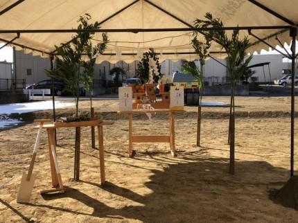 地鎮祭の祭壇です。|郡山市 新築住宅 大原工務店のブログ