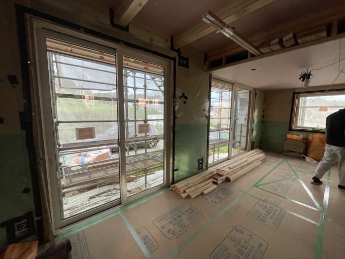 壁の石膏ボード張りが進んでます。本宮市高木  郡山市 新築住宅 大原工務店のブログ