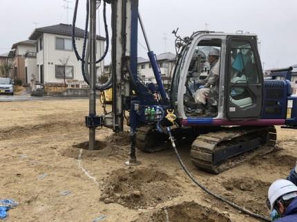 地盤改良工事の杭施工です。|郡山市 新築住宅 大原工務店のブログ