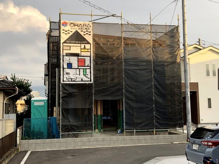 新築注文住宅の足場シートです 郡山市台新 |郡山市 新築住宅 大原工務店のブログ