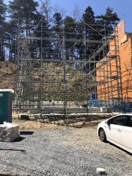 新築の先行足場です。|郡山市 新築住宅 大原工務店のブログ