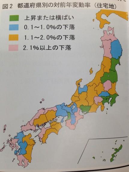 2015地価調査(基準地価)都道府県別の対前年変動率(住宅地)