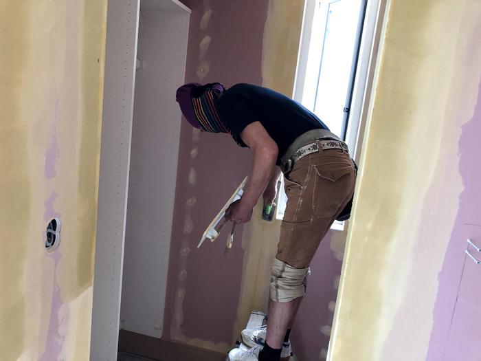 大原工務店で新築注文住宅建築中K様邸、パテを塗っております。郡山市富田町| 郡山市 新築住宅 大原工務店のブログ