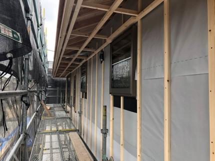 新築の外壁下地工事です。