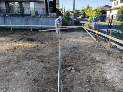 位置出しの時点で、間違いがないかチェックします。須賀川市北横田|郡山市 新築住宅 大原工務店のブログ