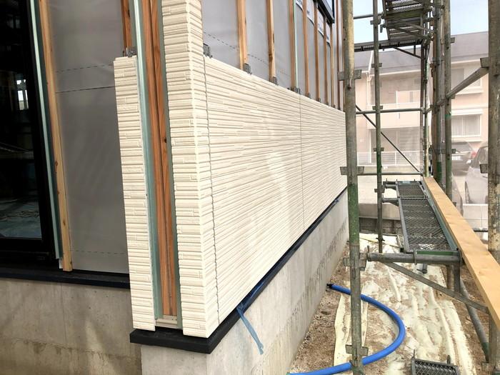 一部カッコいい外壁を施工した様子です。郡山市町東| 郡山市 新築住宅 大原工務店のブログ