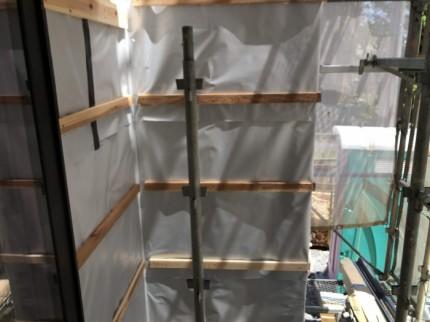 外壁下地施工している部分です。郡山市成山町| 郡山市 新築住宅 大原工務店のブログ