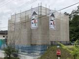 足場シートがかけられました。須賀川市北横田|郡山市 新築住宅 大原工務店のブログ