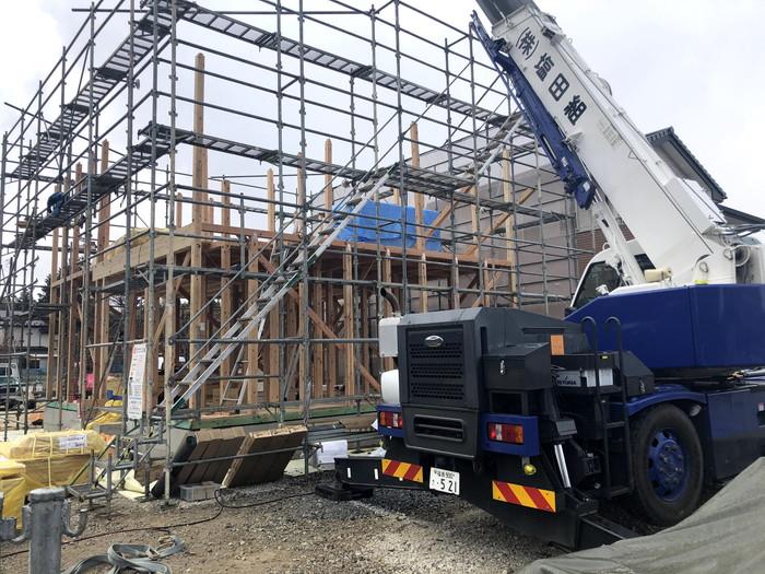 新築の上棟の様子です。 郡山市 新築住宅 大原工務店のブログ