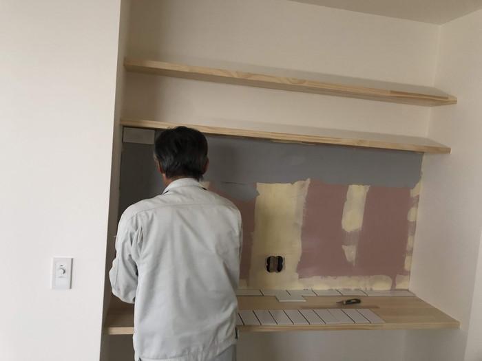 タイルの下地造りです。|郡山市 新築住宅 大原工務店のブログ