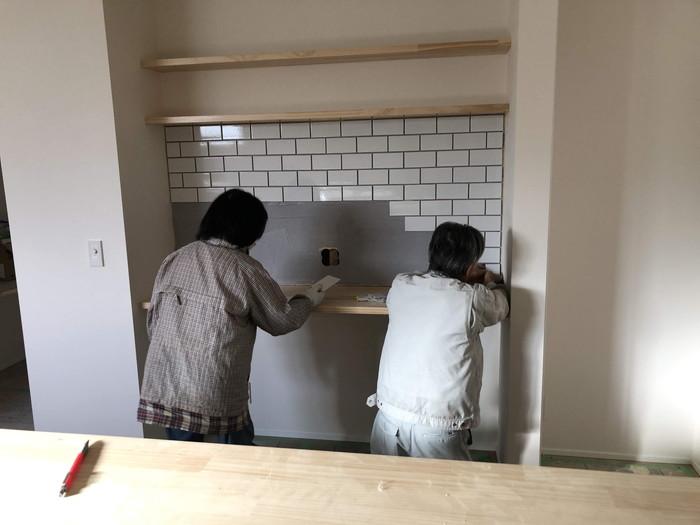 タイルの施工です。|郡山市 新築住宅 大原工務店のブログ