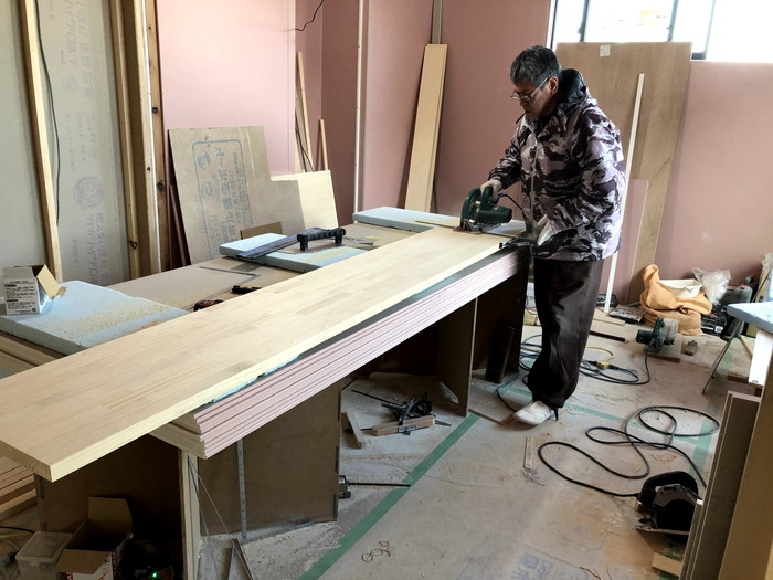 キッチンカウンターの造作です。|郡山市 新築住宅 大原工務店のブログ