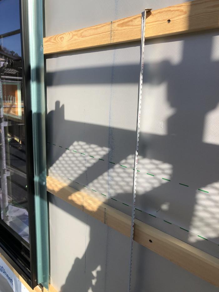 胴縁のピッチ確認です。福島県二本松市| 郡山市 新築住宅 大原工務店のブログ
