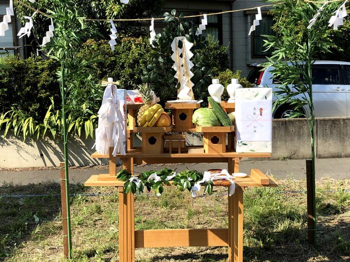 地鎮祭の祭壇設置です。|郡山市 新築住宅 大原工務店のブログ