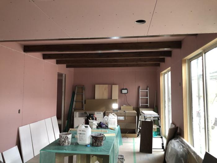 石膏ボードを施工した写真です。郡山市熱海町Y様邸| 郡山市 新築住宅 大原工務店のブログ