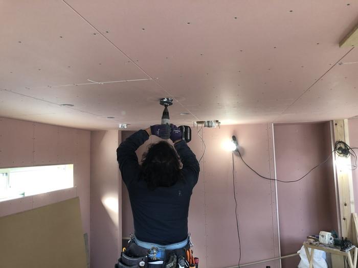 石膏ボードを張ったところです。二本松市Y様邸  郡山市 新築住宅 大原工務店のブログ