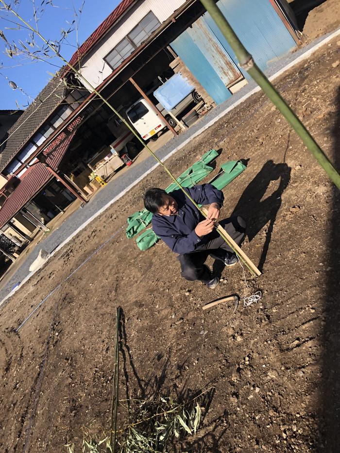地鎮祭の竹の設置です。|郡山市 新築住宅 大原工務店のブログ