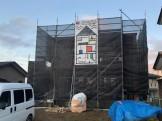 M様邸にも足場シートがつきました。|郡山市 新築住宅 大原工務店のブログ