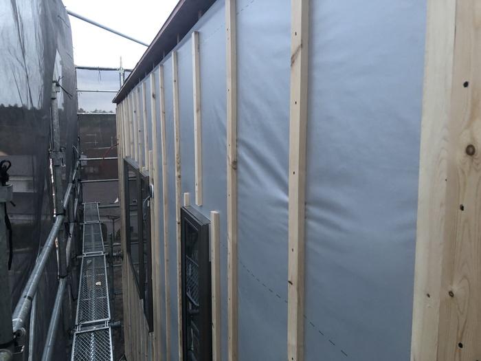 新築注文住宅M様邸、外壁下地施工進んでおります。須賀川市森宿