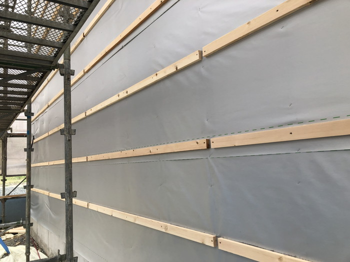 外壁の胴縁施工です。|郡山市 新築住宅 大原工務店のブログ