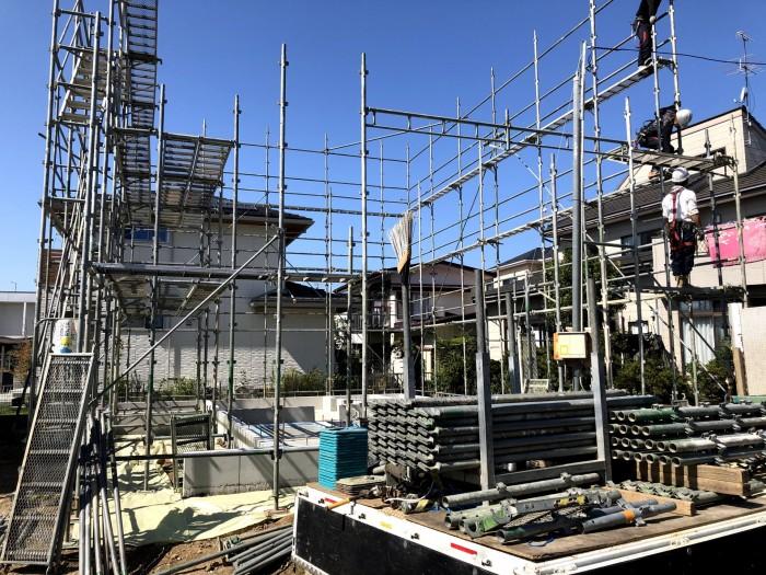 新築注文住宅K様邸、足場を組んでいる別角度です。郡山市久留米| 郡山市 新築住宅 大原工務店のブログ