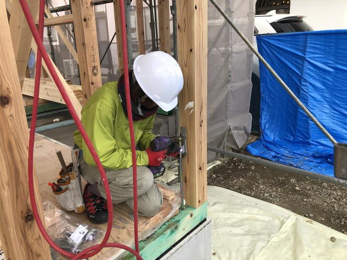 ホールダウン金物の取付です。|郡山市 新築住宅 大原工務店のブログ