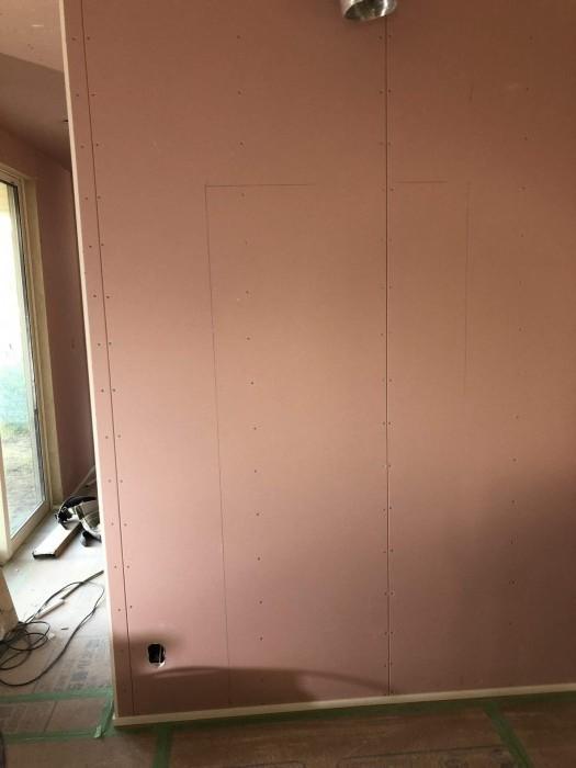 キッチンパネルを貼る位置が書いてあります。郡山市御前南| 郡山市 新築住宅 大原工務店のブログ