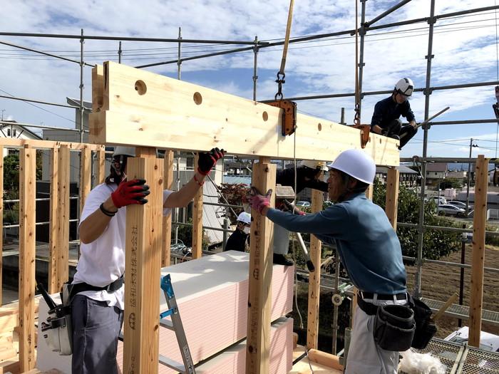 構造材を組み上げて行きます。|郡山市 新築住宅 大原工務店のブログ