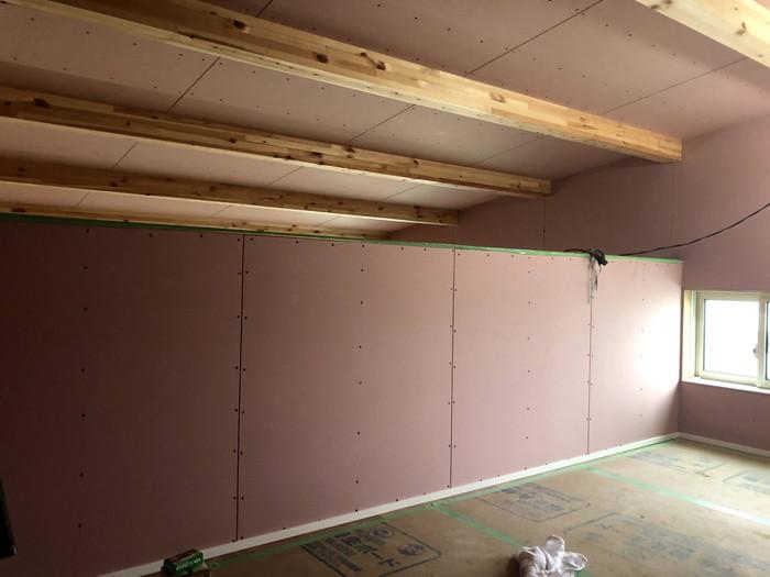 石膏ボードを張りました。郡山市田村町| 郡山市 新築住宅 大原工務店のブログ
