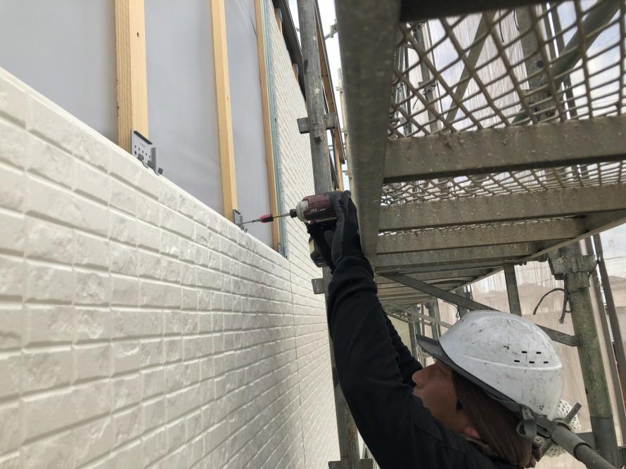 二本松市のA様邸では外壁工事が進んでいます。|郡山市 新築住宅 大原工務店のブログ