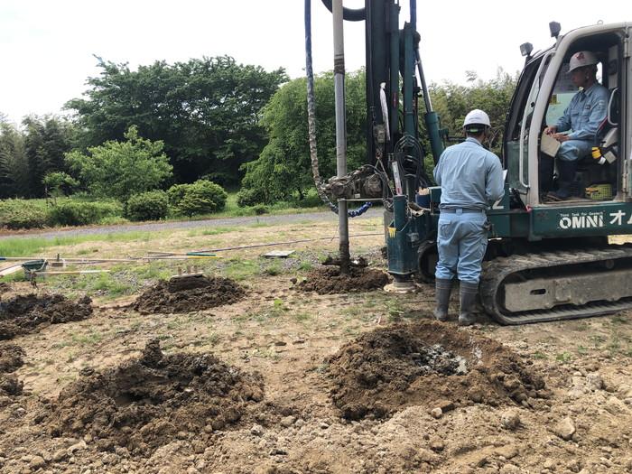 柱状改良工事の様子です。郡山市日和田町| 郡山市 新築住宅 大原工務店のブログ