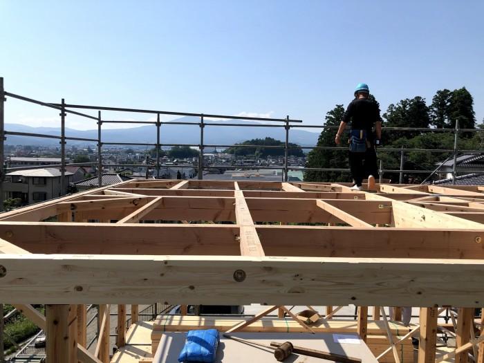 上棟の風景です。本宮市高木N様邸| 郡山市 新築住宅 大原工務店のブログ